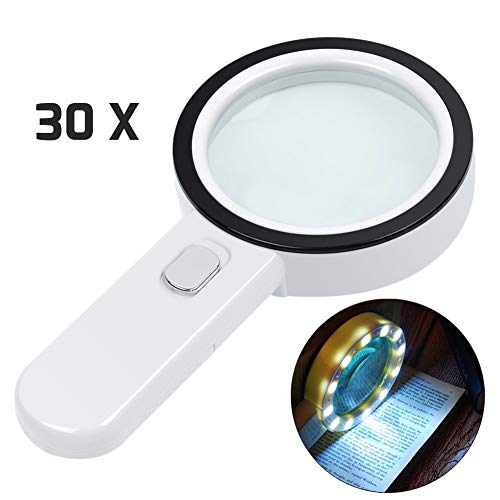 Magnifying Glass with Light, 30X Illuminated Large Magnifier Handheld 12 LED Lighted Magnifying Glass for Seniors Reading, Soldering, Inspection, Coins, Jewelry, Exploring, Macular Degeneration