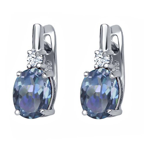 Gem Stone King 4.70 Ct Oval Cassiopeia Mystic Topaz 925 Sterling Silver Earrings