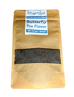 Organic Butterfly Pea Flower Powder - Natural Blue Food Coloring - 100% Organic pure powdered butterfly pea. Perfect for Beverages, Cakes and Culinary Delights