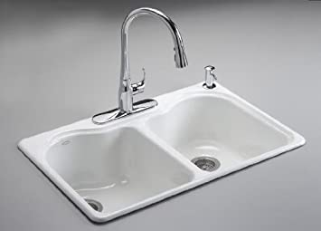 Beautiful KOHLER K 5818 4 96 Hartland Self Rimming Kitchen Sink With Four