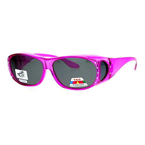 Womens Polarized Fit Over Glasses Rhinestone Sunglasses Oval Rectangular Pink