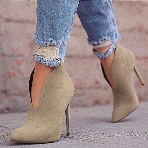 Donna Alti Tacco Heels Autunno Stivaletti Boots Moda Casual Minetom A Scamosciato High Elegante Cachi Ankle Stivali Spillo CM 12 Scarpe Tacchi p0Pwpd