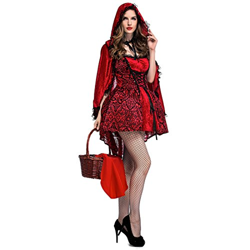 Slocyclub Women's Little Red Riding Hood Thigh-length Dress Party Costume (M(bust 35.4