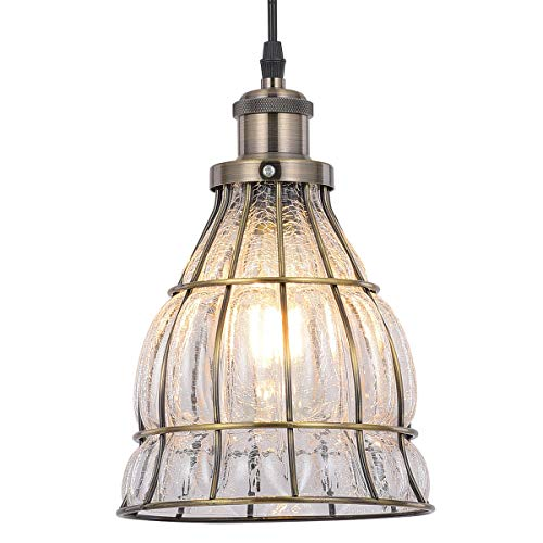 Industrial Glass Pendant Light Fixture, Tausende Vintage Rustic Ceiling Light Hanging Chandelier for Kitchen Island, Dining Room, Living Room, Restaurant, Cracked Glass, Metal Bronze Oil Rubbed Cage