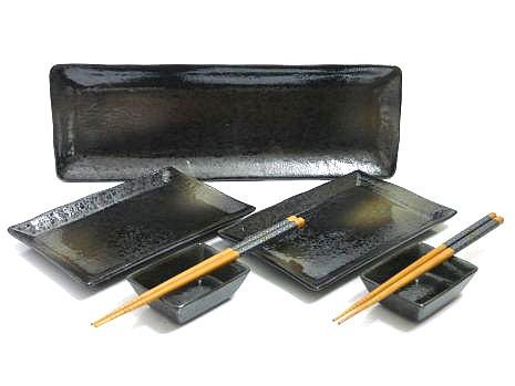 7 Pc Black Mist Sushi Serving Set For Two