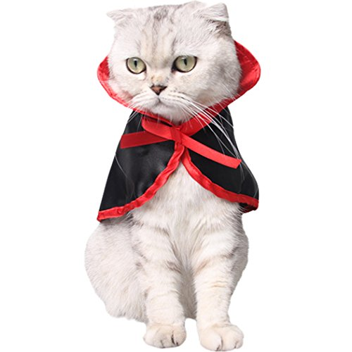 Cat Dog Costumes Halloween (Cat Costume, Legendog Halloween Pet Costumes Vampire Cloak Halloween Costumes for Dogs Christmas Cute Cosplay Clothes for Small Dogs & Cats (Black & Red))