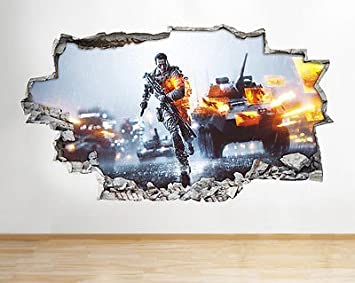 Battlefield Vinyl Gaming Poster Wohnzimmer Schlafzimmer Wand Aufkleber 3D  Kunst Aufkleber (Medium (52 X