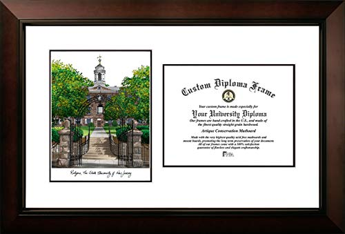 Rutgers Frame Diploma - Campus Images NJ999LV Rutgers, State University of New Jersey, Legacy Scholar Diploma Frame, 8.5