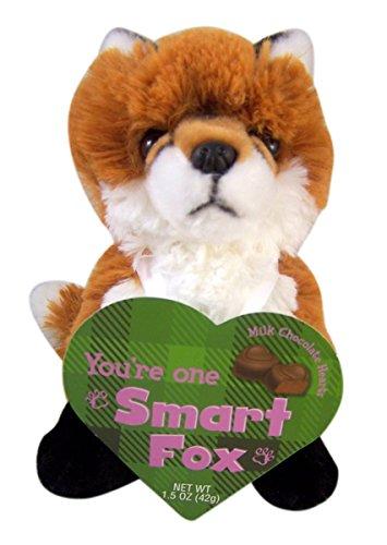 Smart Fox Animal Valentines Plush Toy with Milk Chocolate Hearts, 7 Inch