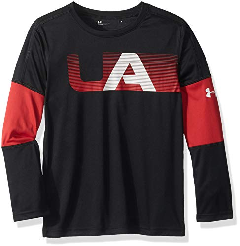 Ballet Long Sleeve Tee - Under Armour Boys' Little Long Sleeve Graphic Tee Shirt, Black Headliner, 7