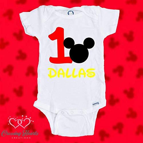 Mickey Mouse First 1st Birthday Onesie Bodysuit Shirt One Personalized Custom