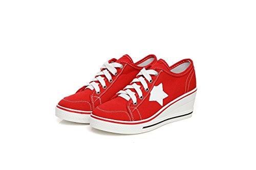 Zapatos Zapatos Primavera Grueso Talón Mujer Color 41 Talones Talón Muffin Zapatos Zapatos Inferiores Lienzo Otoño pequeños de Talón Rojo tamaño Ayuda de Comfort Lona Blancos Baja B8tFrPw8q6