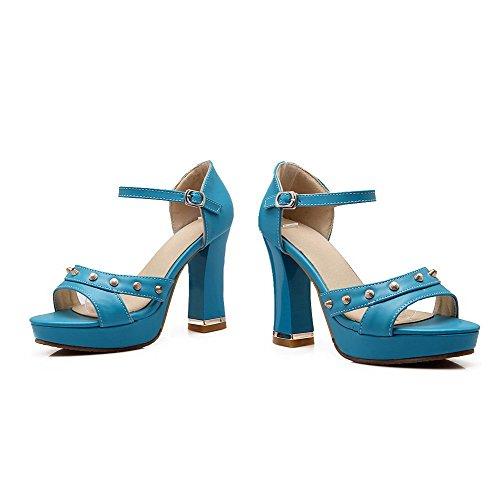 Amoonyfashion Donna Pu Fibbia Tinta Unita Sandali Con Tacco Alto Blu