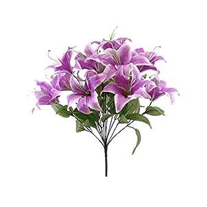 """Phoenix Silk Tiger Lily Bush Satin 11 Artificial Flowers 19"""" Bouquet 8225 Lavender 13"""
