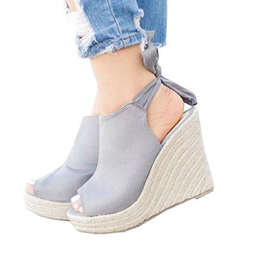 Syktkmx Womens Espadrille Platform Wedge Heel Peep Toe Ankle Strap Slingback Suede Sandals -