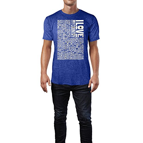 SINUS ART ® US Flagge mit Staaten – I Love My Country Herren T-Shirts in Vintage Blau Cooles Fun Shirt mit tollen Aufdruck