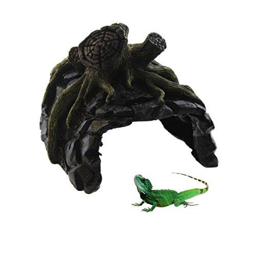 Emours Reptile Hideout Turtle Resin Climb Stone Aquarium Decor Tree Trump Cave Tortoise Lizard Reptile Hideout Cave Den Large