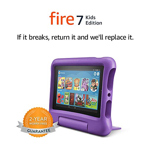 Fire 7 Kids Tablet, 7″ Display, 16 GB, Purple Kid-Proof Case