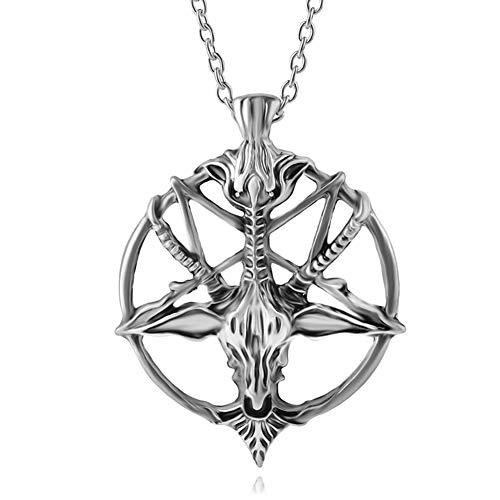 (COLORFUL BLING 1Pcs Pentagram Pan God Skull Goat Head Pendant Necklace Luck Satanism Occult Metal Vintage Silver Star Necklace Man - Silver)