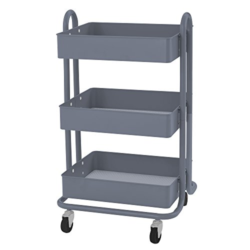 ECR4Kids 3-Tier Metal Rolling Utility Cart - Heavy Duty Mobile Storage Organizer, Grey