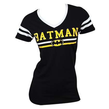 Batman Varsity Logo Varsity V-Neck T-Shirt (L, Black)
