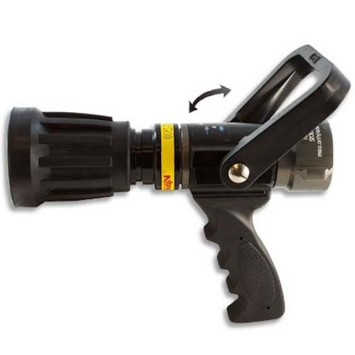 Heavy Duty Aluminum 1 1/2'' pistol grip nozzle 95 GPM with Durable Rubber Bumper and Ball Shut Off (NPSH) by FireHoseDirect (Image #1)