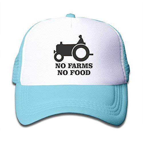 Kids Two Tone No Farms No Food Farmer Truck Adjustable Mesh Trucker Caps SkyBlue