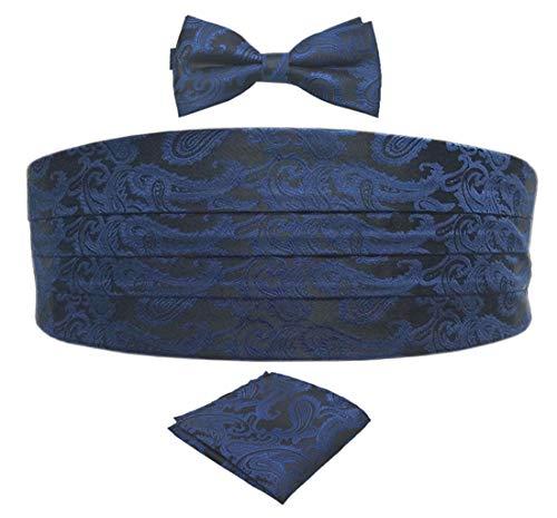 Biruil Men's Paisley Formal Cummerbund & Self Tie Bowtie & Pocket Square Set For Tuxedo (Navy Blue) ()