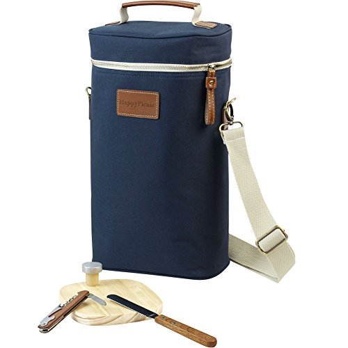 HappyPicnic 2 Bottle Wine Tote Bag,Insulated Travel Wine Carrier,2 Bottle Wine Bottle Cooler Bag Set with Picnic Carrying Tote Kit, Corkscrew,Bottle Stopper,Wooden Cheese Board and - Kit Wine Travel