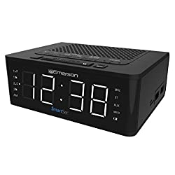 Emerson SmartSet Alarm Clock Radio with Bluetooth Speaker, Charging Station with 2 USB Ports for Iphone/Ipad/Ipod/Android and Tablets, ER100102