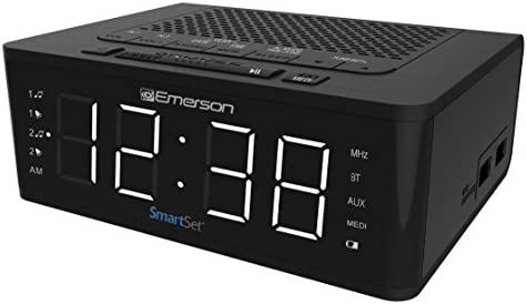 Emerson SmartSet Alarm Clock Radio with Bluetooth Speaker, Charging Station with 2 USB Ports for Iphone Ipad Ipod Android and Tablets, ER100102