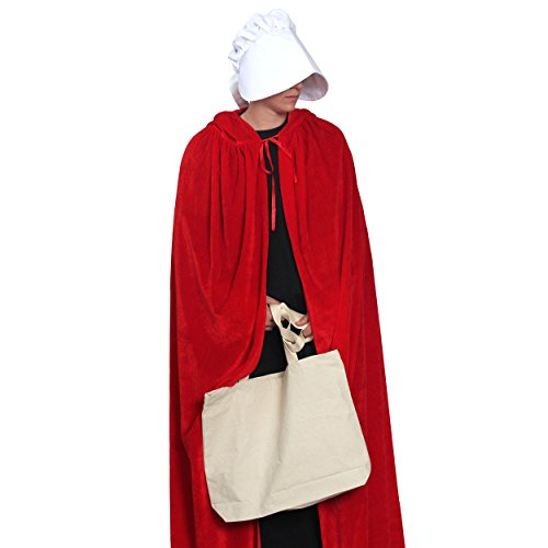 The Handmaid's Tale Red Robe Halloween Costume Outfit With Bag & Bonnet