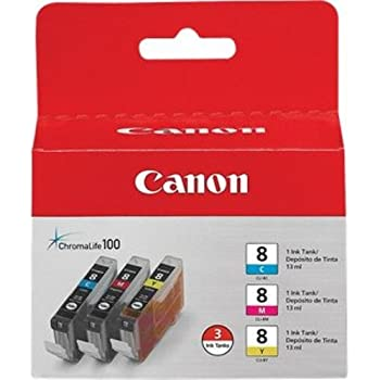 Canon 0621B016 CLI-8 3 Pack C/M/Y Value Pack