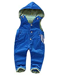 Kidscool Baby Corduroy Plaid Lining Soft Cute Overalls with Hat