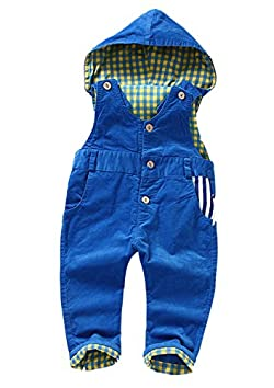 Kidscool Baby & Little Corduroy Plaid Lining Soft Cute Hooded Overalls