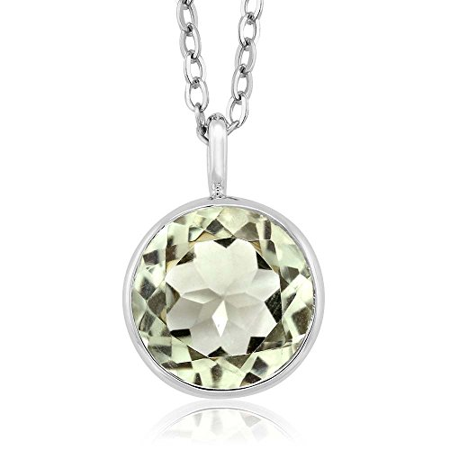 - Gem Stone King 2.75 Ct 9MM Amethyst Green Round 925 Sterling Silver Pendant With 18'' Silver Chain