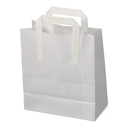 100 x Blanco SOS Llevar / regalo papel transportador Bolsas ...