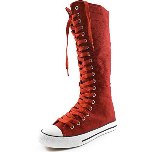 Dailyshoes Toile Femme Mi-mollet Bottes Hautes Casual Sneaker Punk Plat, Bottes Rouges, Rose Rouge Dentelle