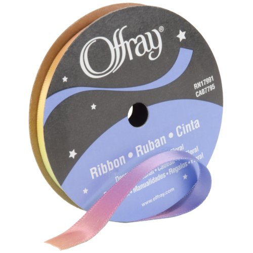 "Offray 362877 3/8"" Wide Sunburst Craft Ribbon, 3 Yards, Rainbow"