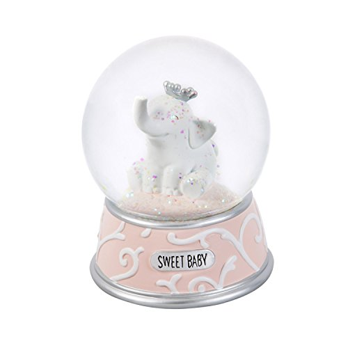 b. Boutique Sweet Baby Pink Elephant Keepsake Water and Glitter Globe with Music Box