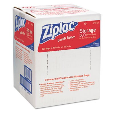 Double Zipper Storage Bags, Plastic, 1qt, Clear, Write-On ID Panel, 500/Box, Sold as 2 Box, 500 Each per Box by Ziploc