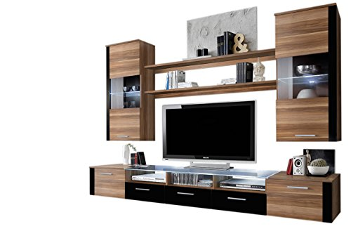 MEBLE FURNITURE & RUGS Wall Unit Modern Entertainment Center with LED Lights Fresh (Plum/Black)