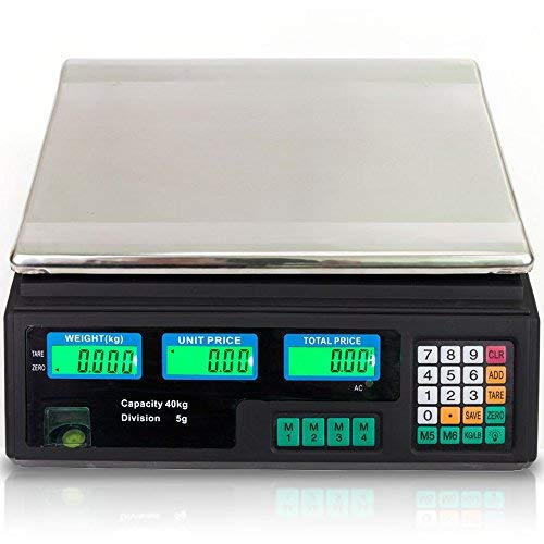 (88LB 40KG Electronic Price Computing Scale | Digital Deli Food Produce Weight Scales with LCD Display for Retail Outlet Store, Kitchen, Restaurant Market, Farmer, Food, Meat, Fruit)