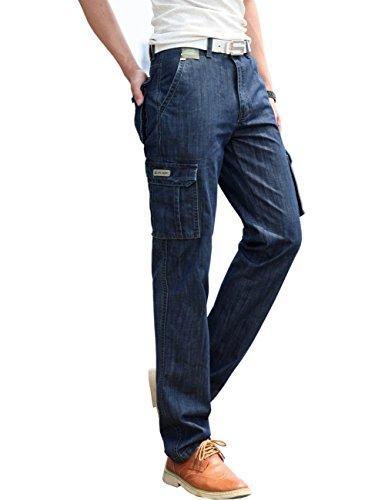 Gaok Men's Fashion Cotton Outdoors Cargo Fit Pants Trousers Jeans -
