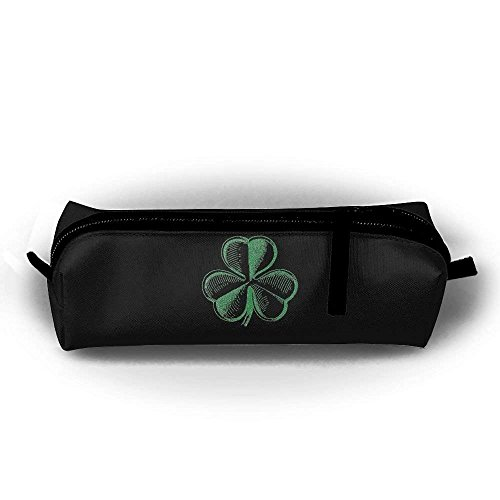 St. Patrick's Day Shamrocks Printing Pen Bag Stationery Pouch Cosmetic Bags Pencil Holder Makeup Bag Cylindrical Purse