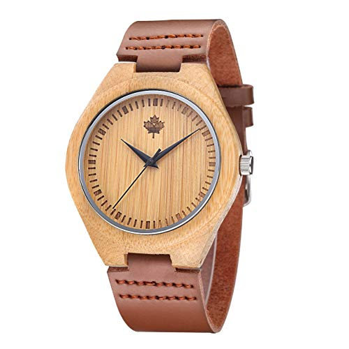 Tamlee Bamboo Wood Watch with Cow Leahter Strap Quartz Analog Unisex Wooden -