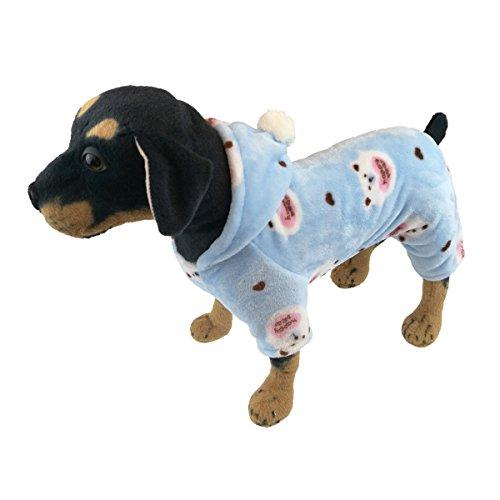 QDOUPET Flannel Pet Pajamas Cute Dog Jumpsuit Four Legs Hood Jacket for Small Dog (M, Blue)