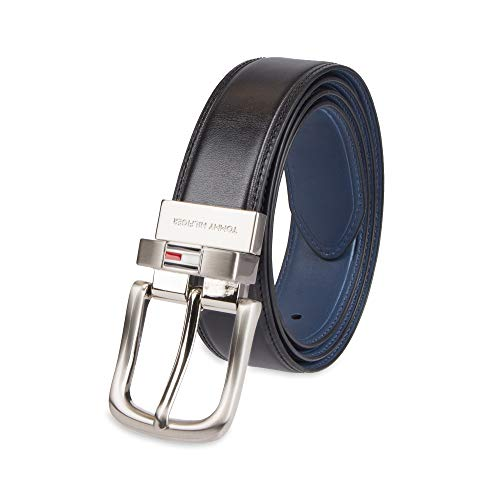 Tommy Hilfiger Reversible Leather Belt - Casual for Mens Jeans with Double Sided Strap and Silver Buckle, black/navy, 30