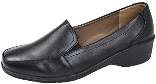 Lora Dora Womens Flexi Sole Slip On Low Wedge Heels Black Pu Slip on Lf2WMXq