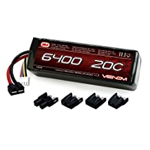 Venom LiPo Battery for Traxxas Slash 1:10 20C 11.1 6400mAh 3S with Universal Plug by Venom RC